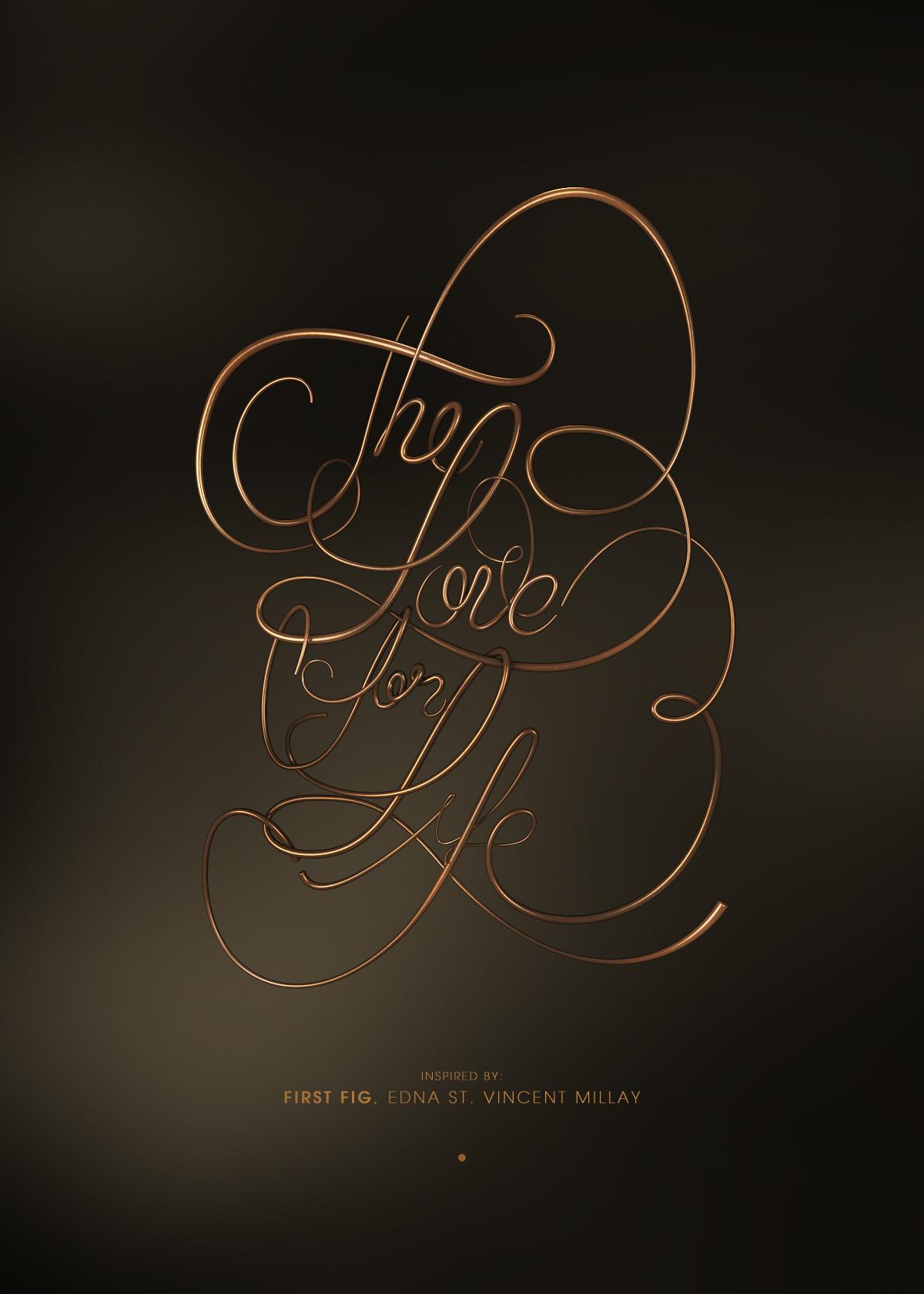 Adobe Portfolio Poetry   Edna St. Vincent Millay  3d lettering