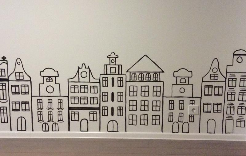 Wall art in kids room: building in old European style on Behance