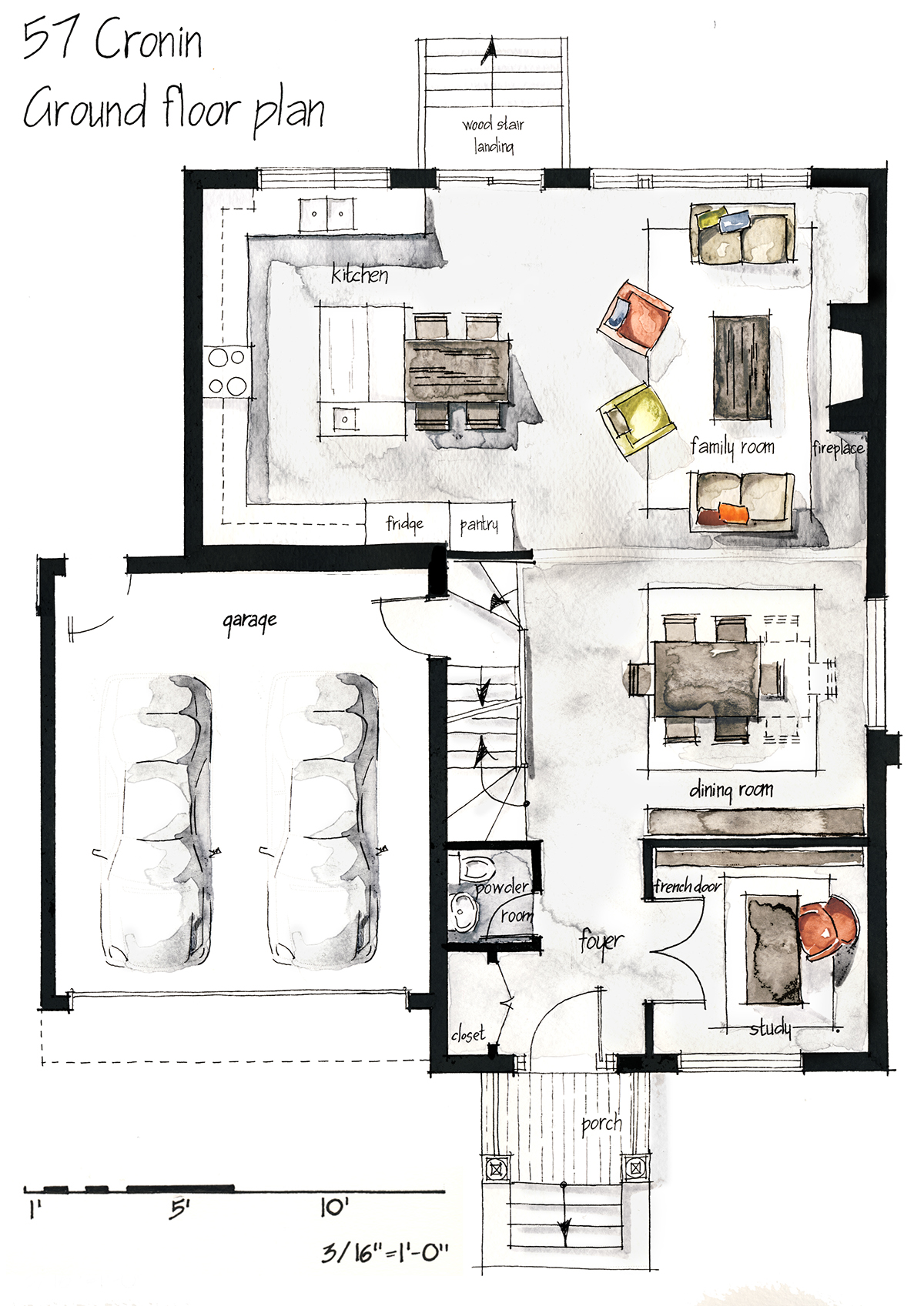 Real estate watercolor 2d floor plans part 1 on behance for Interior design layout drawing