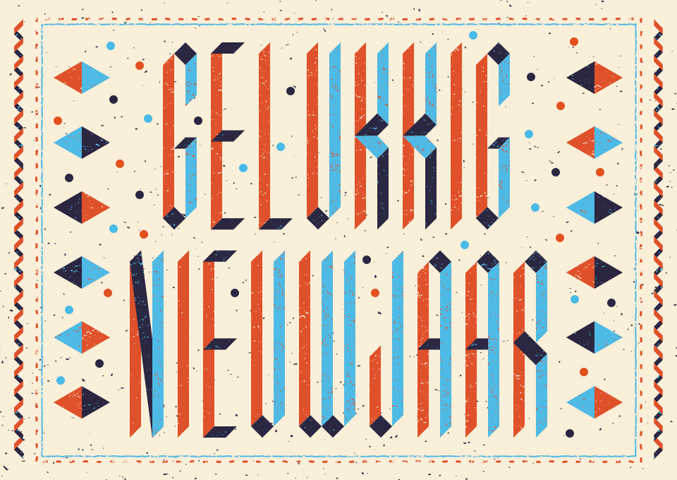 lettering card Holiday fine art dutch Netherlands new year noise modern art Authentic