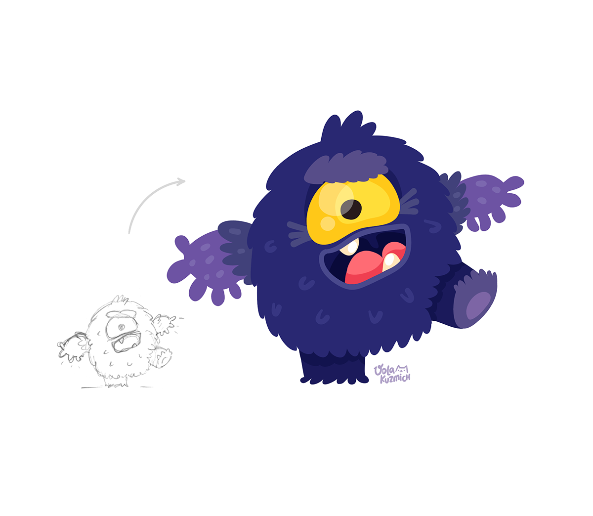 monster Drawing  animation  Character cute game Time Lapse process how it drawn