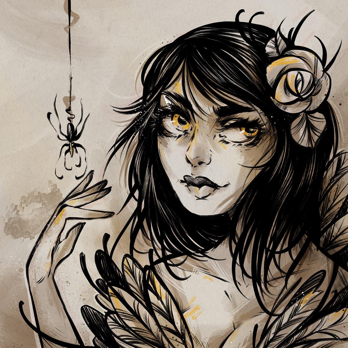 iPad Procreate girl rose mask tattoo beauty color