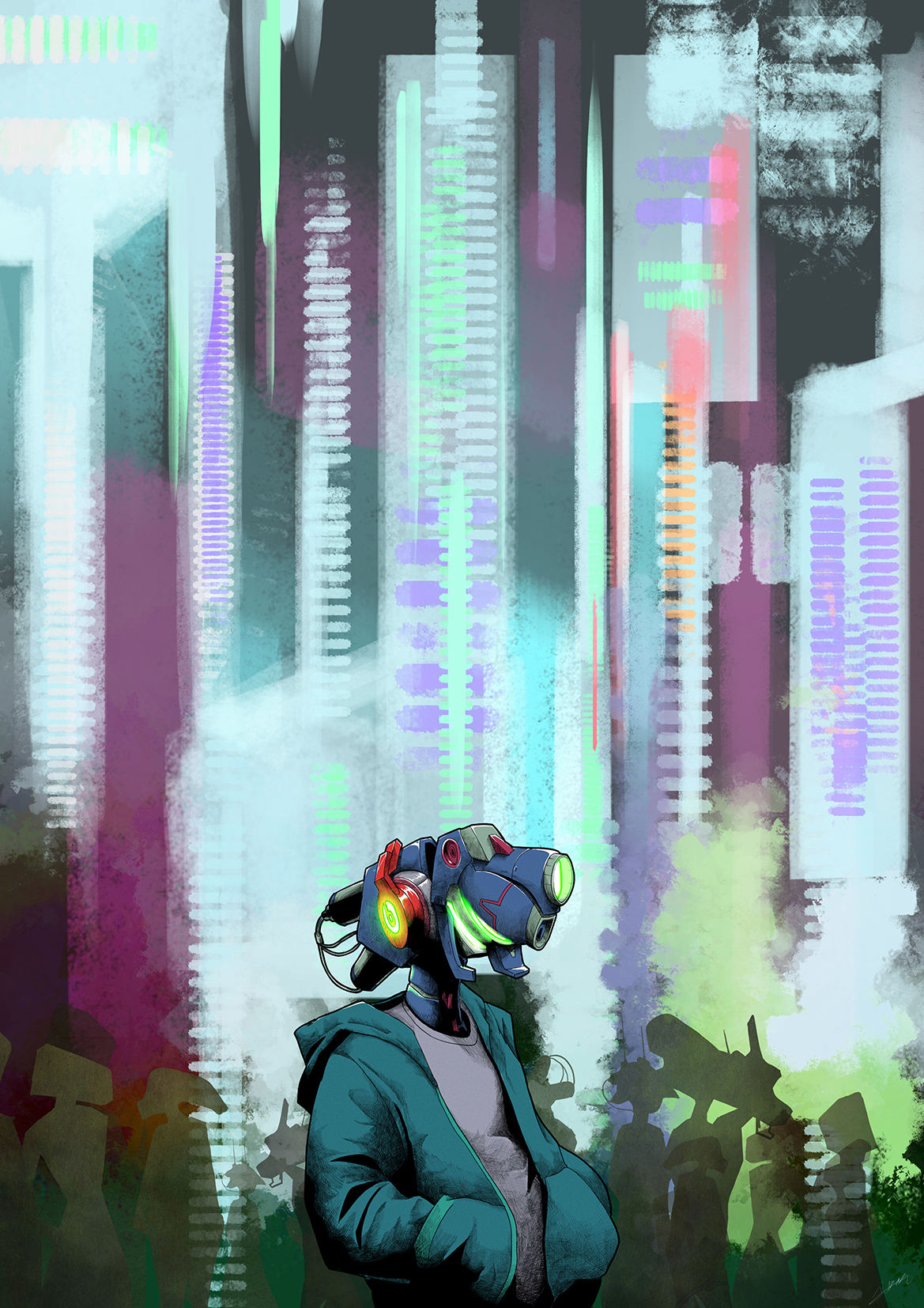 robot fashion illustration Urban Street neon logo headset music beats mech