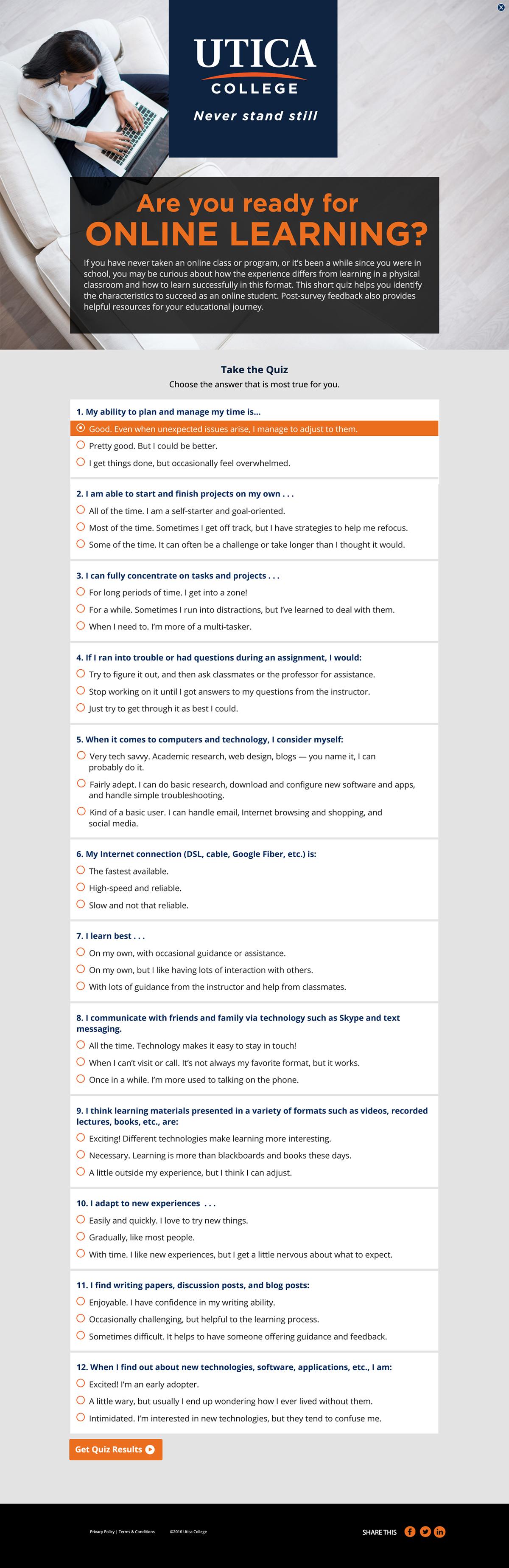 Utica College - Quiz design on Behance