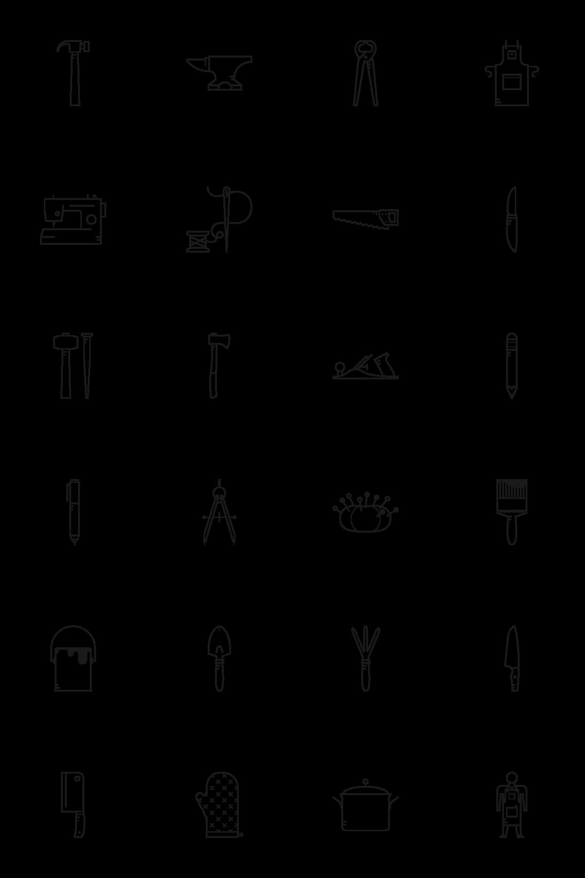 craftsmanship icon set tools