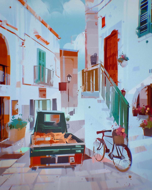 color colorful grece ILLUSTRATION  Interior kitchen porch Travel VisDev visualdevelopment