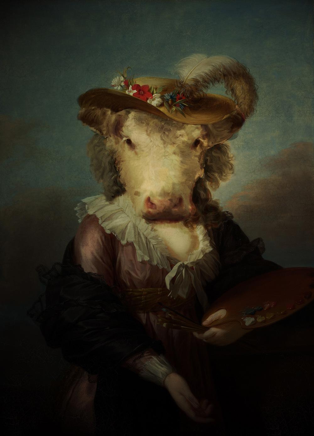 baroque rococo vinyl cd Classic colour vintage. Album cow  surreal package