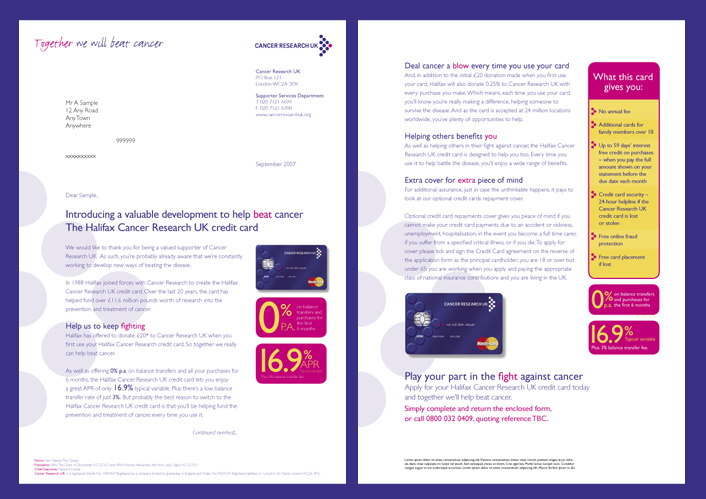 e7179a6131b5 Cancer Research UK - Credit Card Direct Marketing on Behance