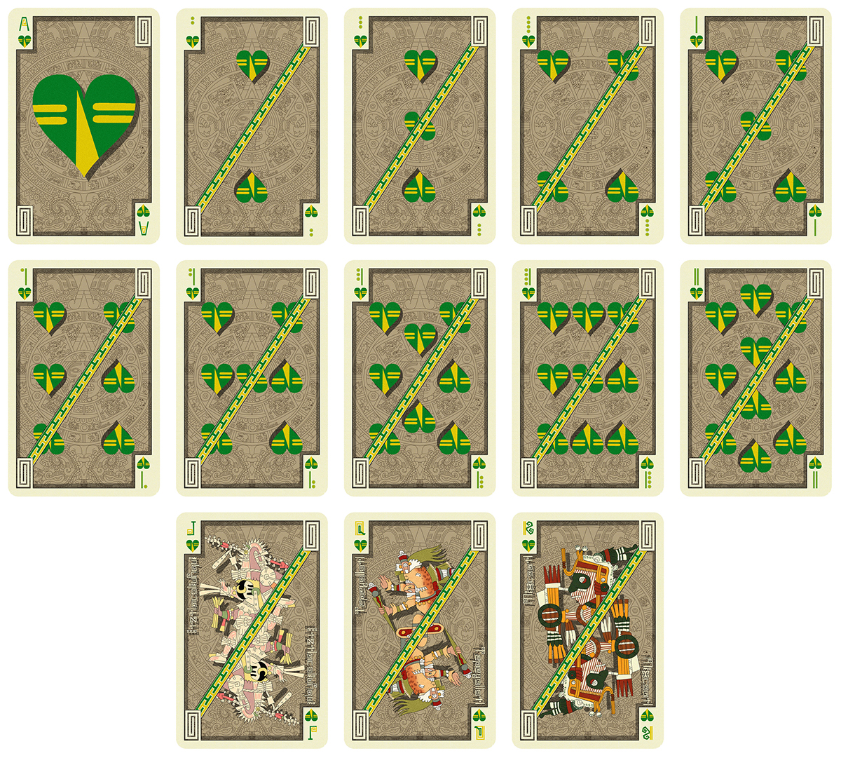 cards game,aztec,gods,mythology,Maya,inca,mexico,spades,clubs,diamonds,hearts,ouroboros,jack,queen,king