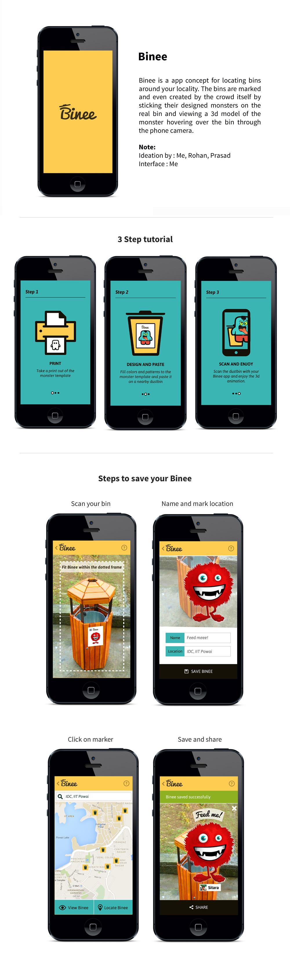 app Bin clean trash dustbin augmented reality monster