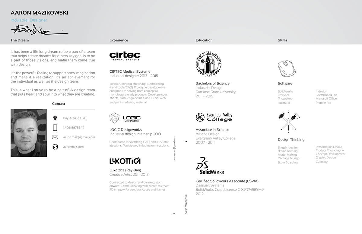 Aaron Mazikowski - Industrial Design Resume on Behance