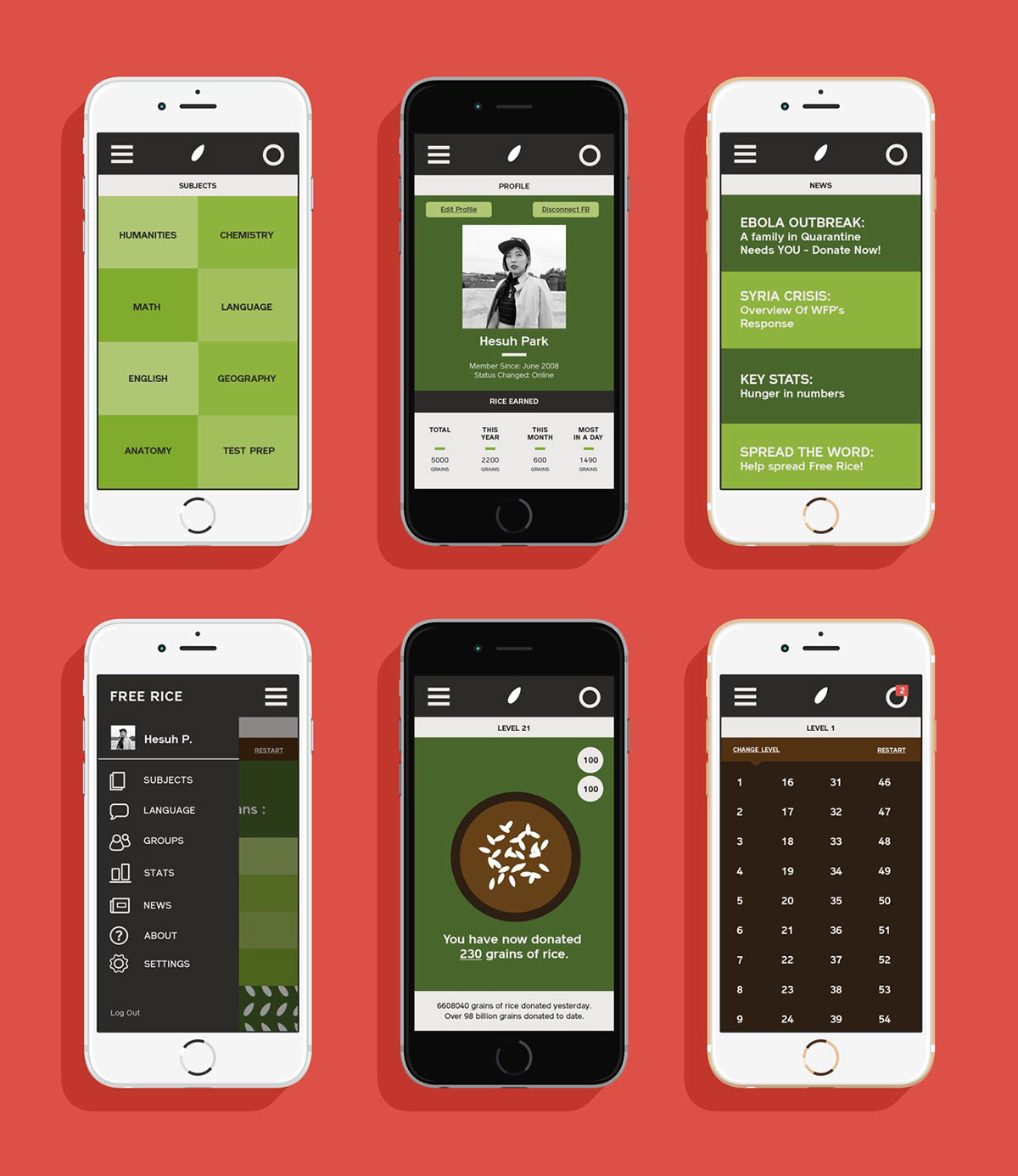 mobile Web redesign Rice charitable charity nonprofit donation modern app Rebrand brand freerice