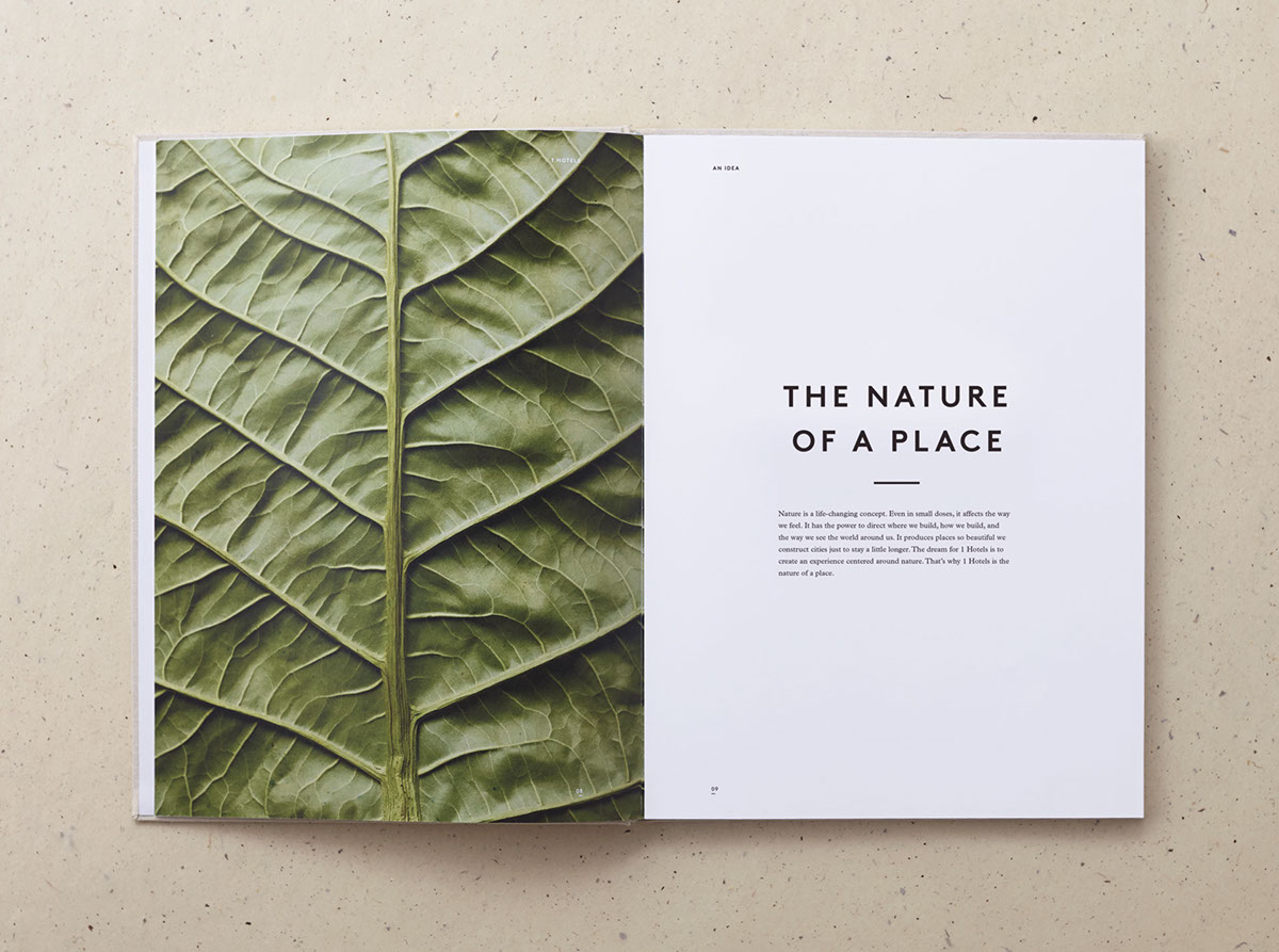 1 hotel branding on behance for Layout book design inspiration