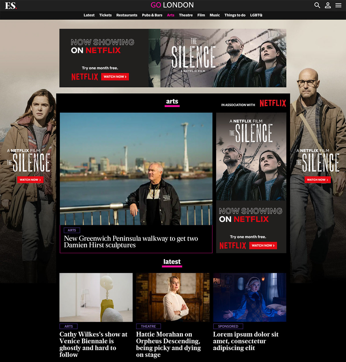 ad Home page take over hpto Netflix