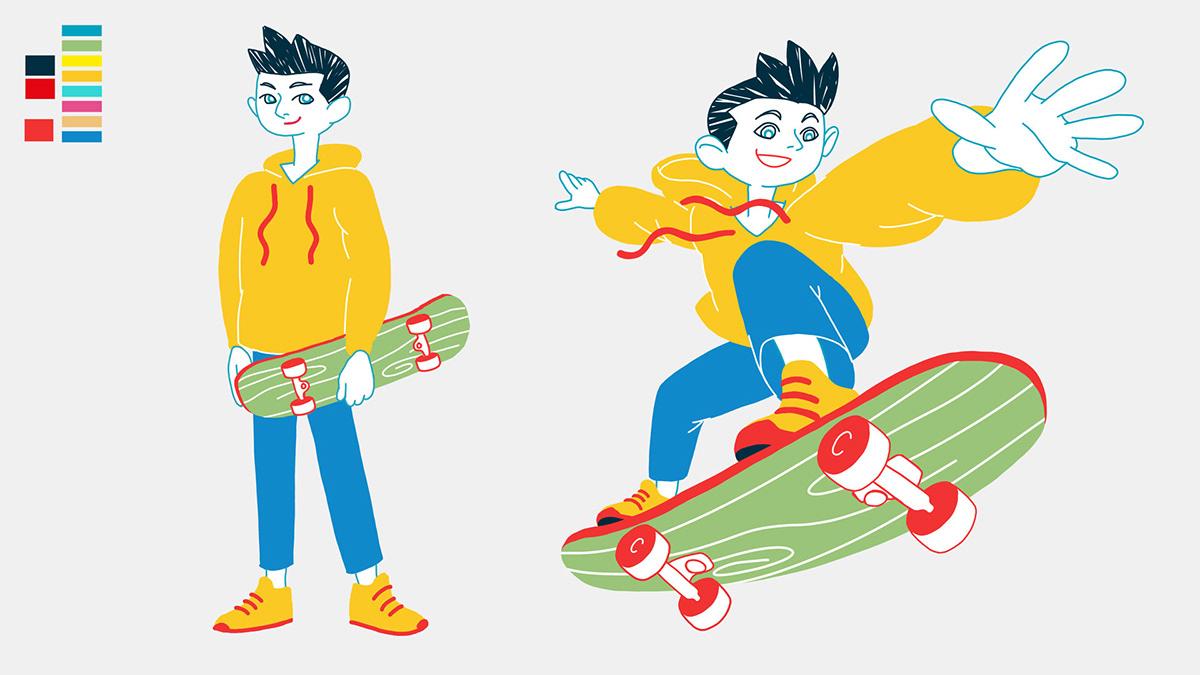 after effects circular economy explainer video ILLUSTRATION  kid motion motion design recycle skate skateboard