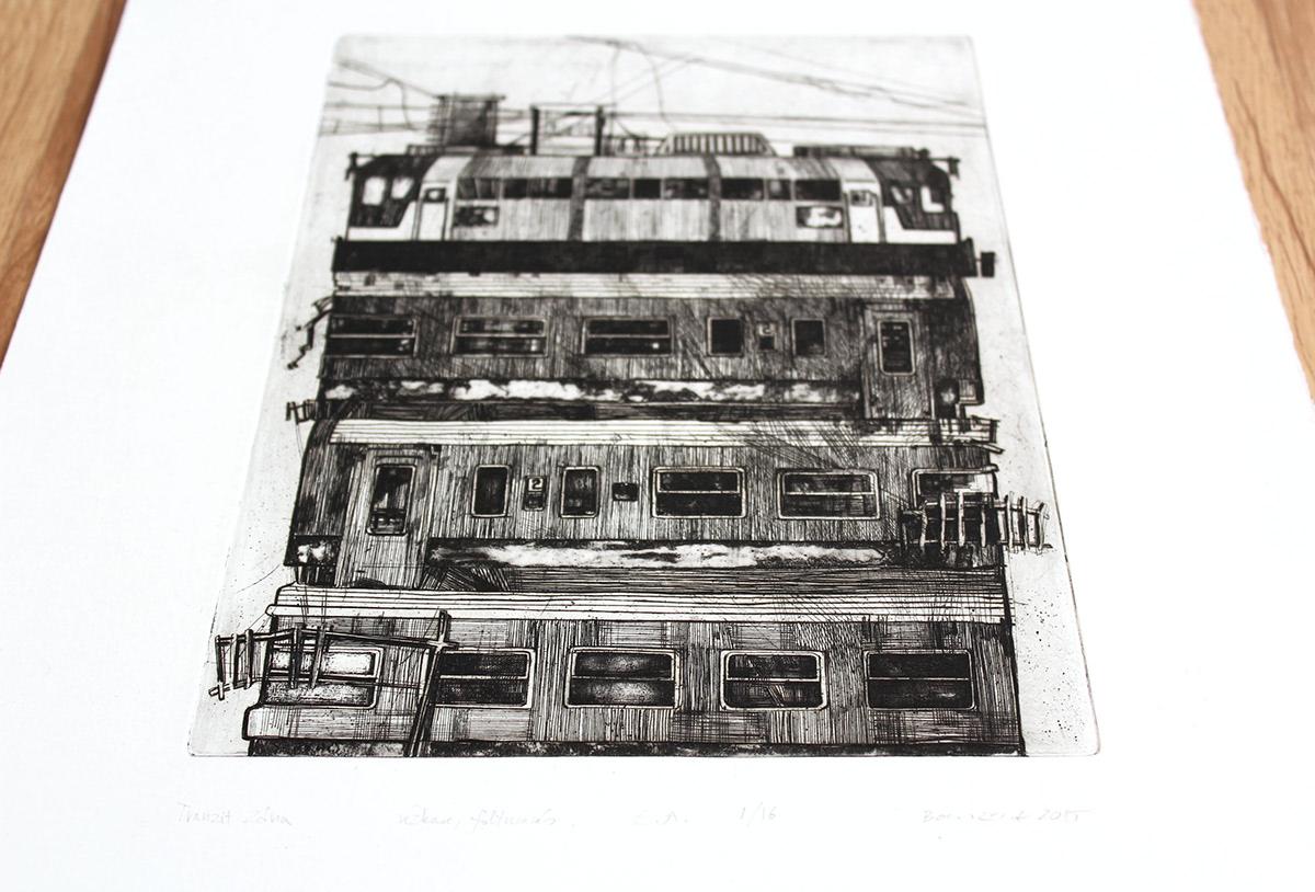 architecture etching intaglio printmaking traditional fine art print Urban