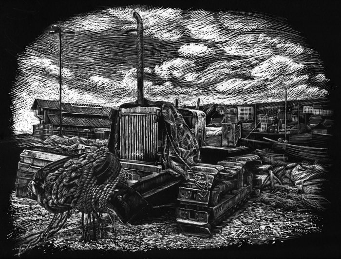 Scraperboard illustration of bulldozer on Hastings beach