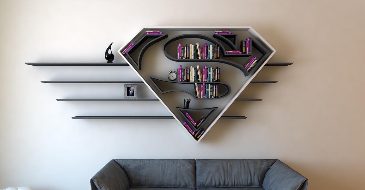 Superman logo bookshelf by Burak Doğan