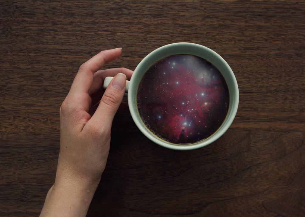 surreal digital manipulation Photo Manipulation  Coffee tea Mug  Ocean galaxy morning microcosm seapression surfing waves sea stars Space