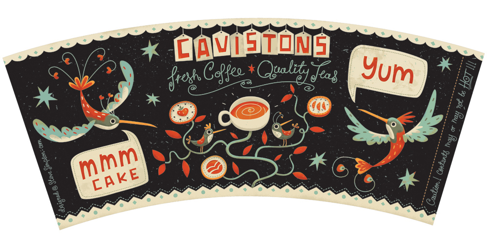 Retro steve simpson birds Coffee tea cup graphic  creative award winning limited palette lettering illustrated illustrative design Hand Lettered hand drawn lettering
