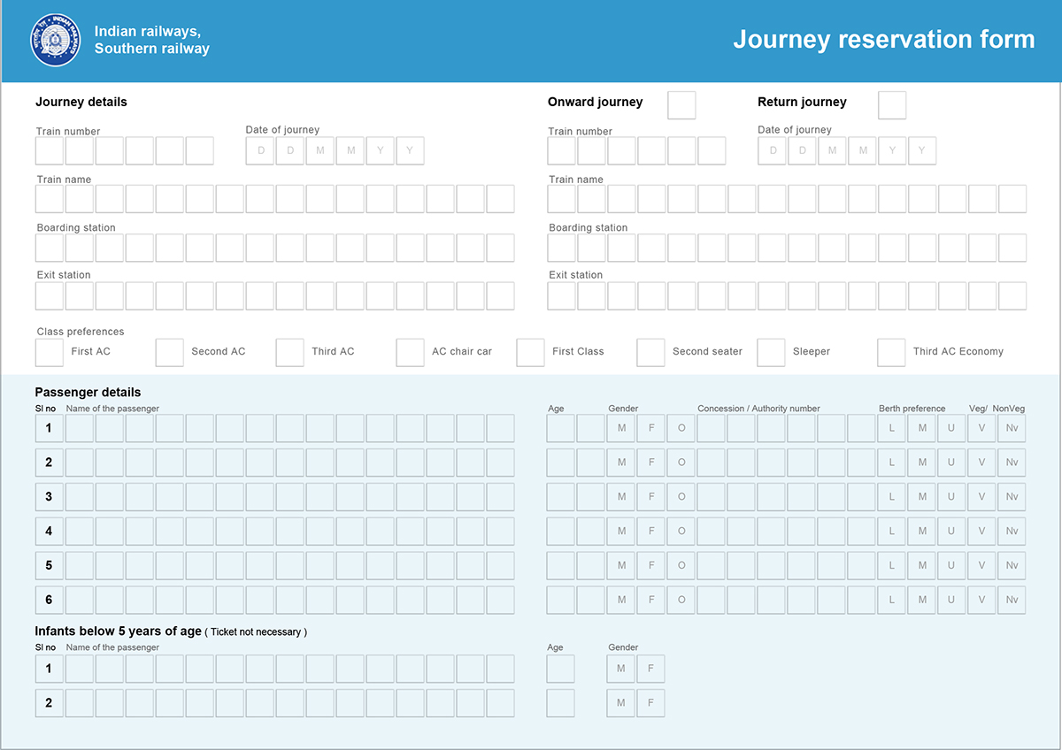 Indian Railway Reservation Form, Redesign(concept) On Behance