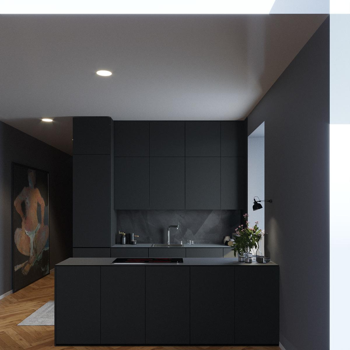 Small Black Kitchen On Behance