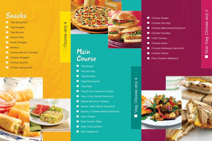 menu cards food menu Multiple Colours tri fold three fold