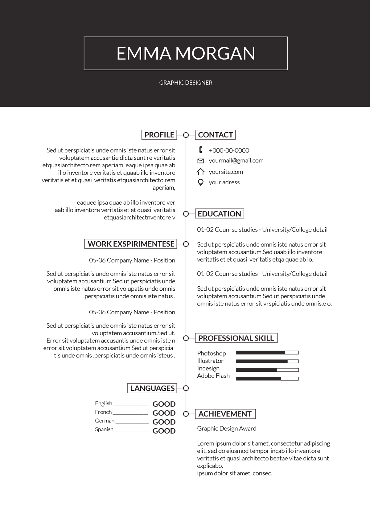 simple professional resume template  cv template on behance