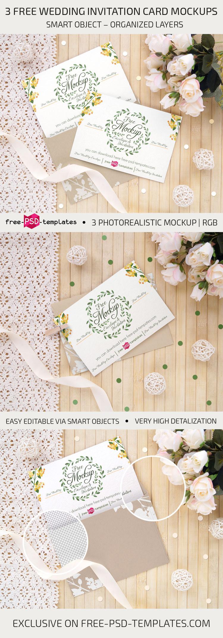 3 Free Wedding Invitation Card Mockups On Behance