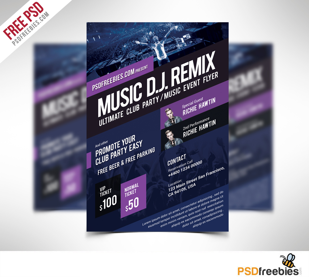 Freebie Music Event Flyer Template Free Psd On Behance