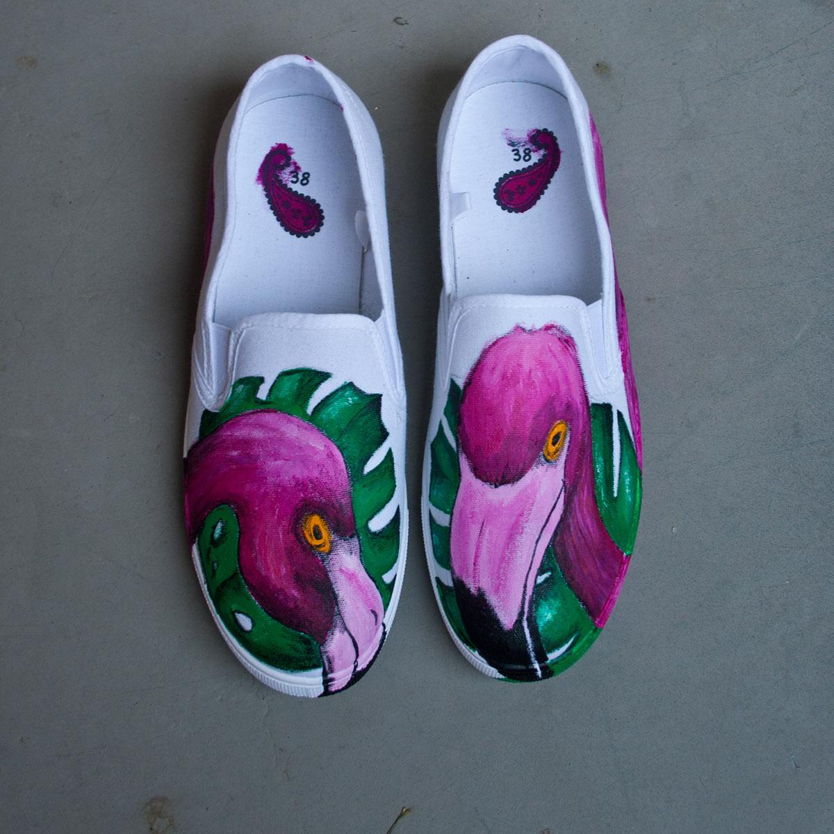 flamingo shoes palms pink crazy acryl beak bird