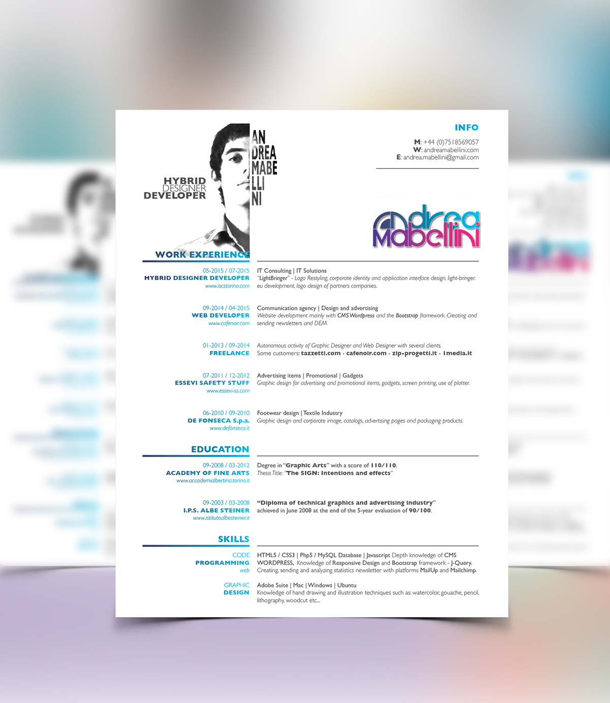 Free CV RESUME Template // InDesign Layout On Behance
