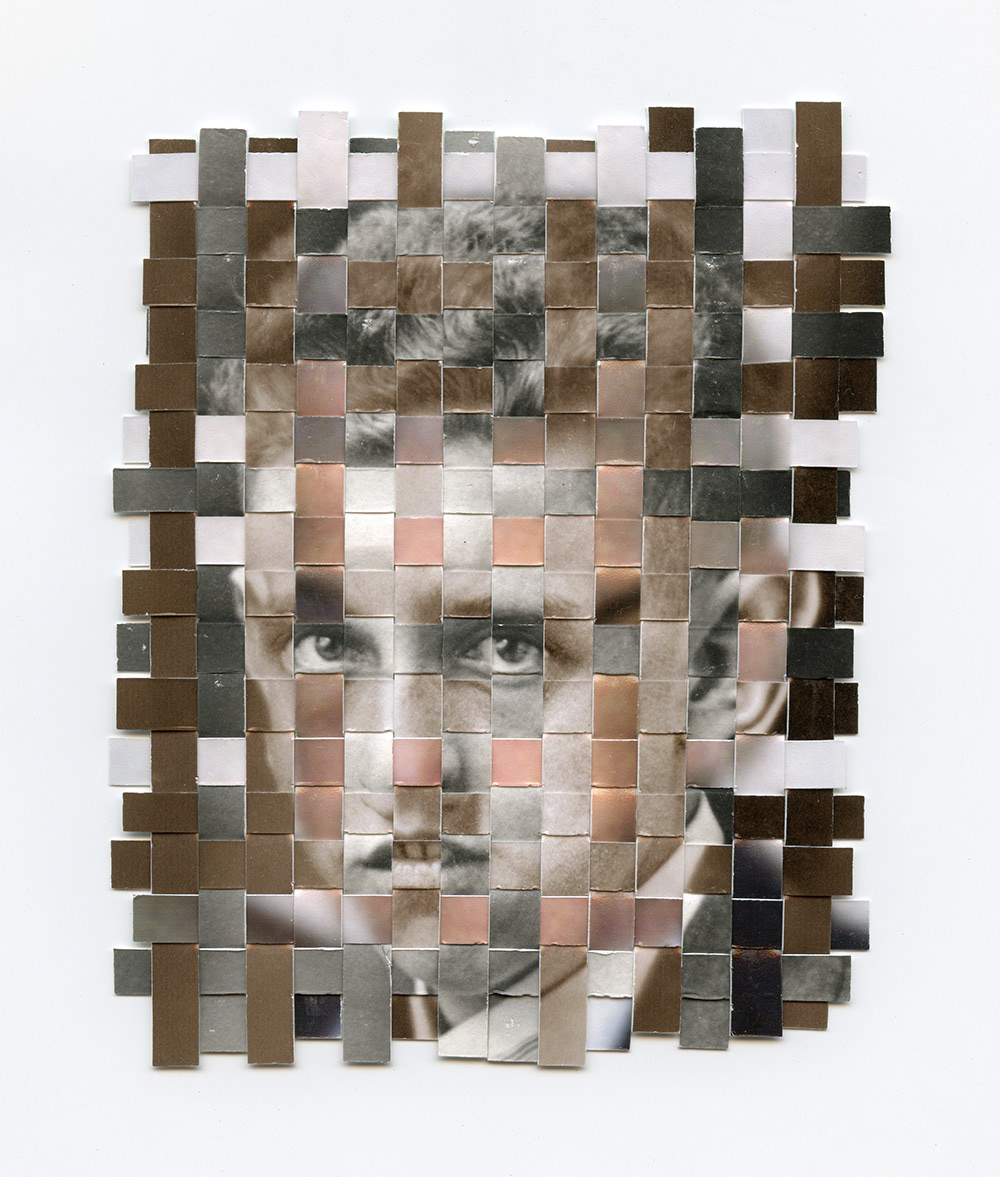 weave Woven collage found photo portrait found photograph death Memory time loss