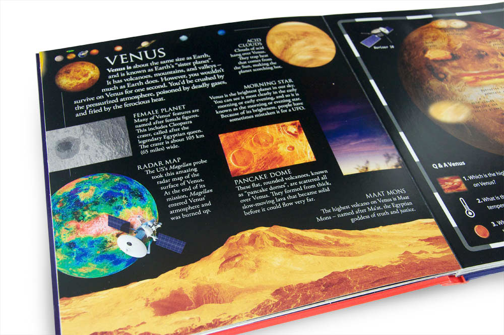 Interior spread about Venus from Dk pop up space book designed by Fiona Gowen