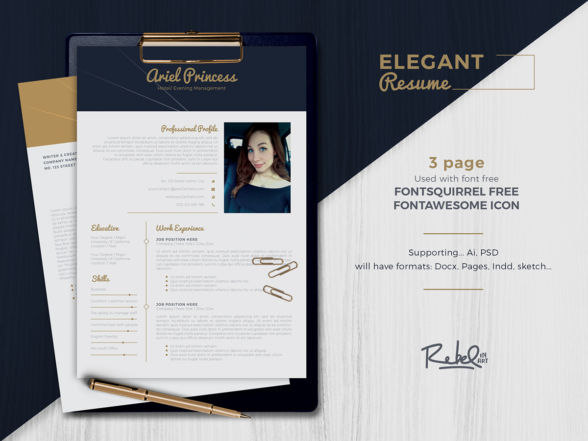 Elegant Resume  Cv Template   Pages On Behance