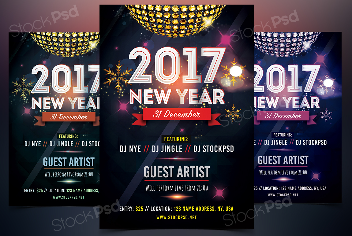 2017 new year free psd flyer template on behance pronofoot35fo Choice Image