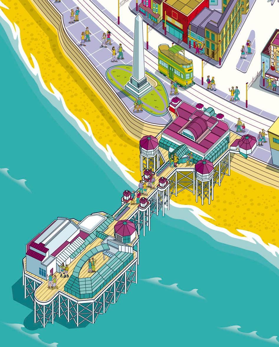 Blackpool Resort Map Illustration For Visit Blackpool On