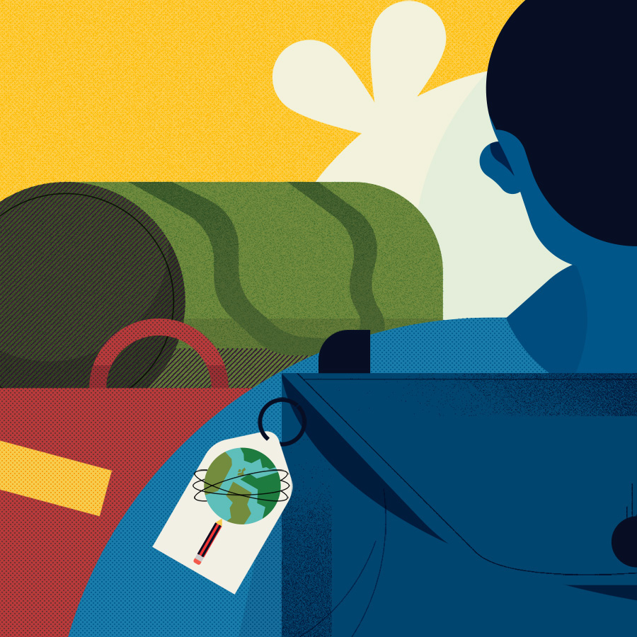 adam avery illustration the guardian university guide man wearing backpack ready to travel