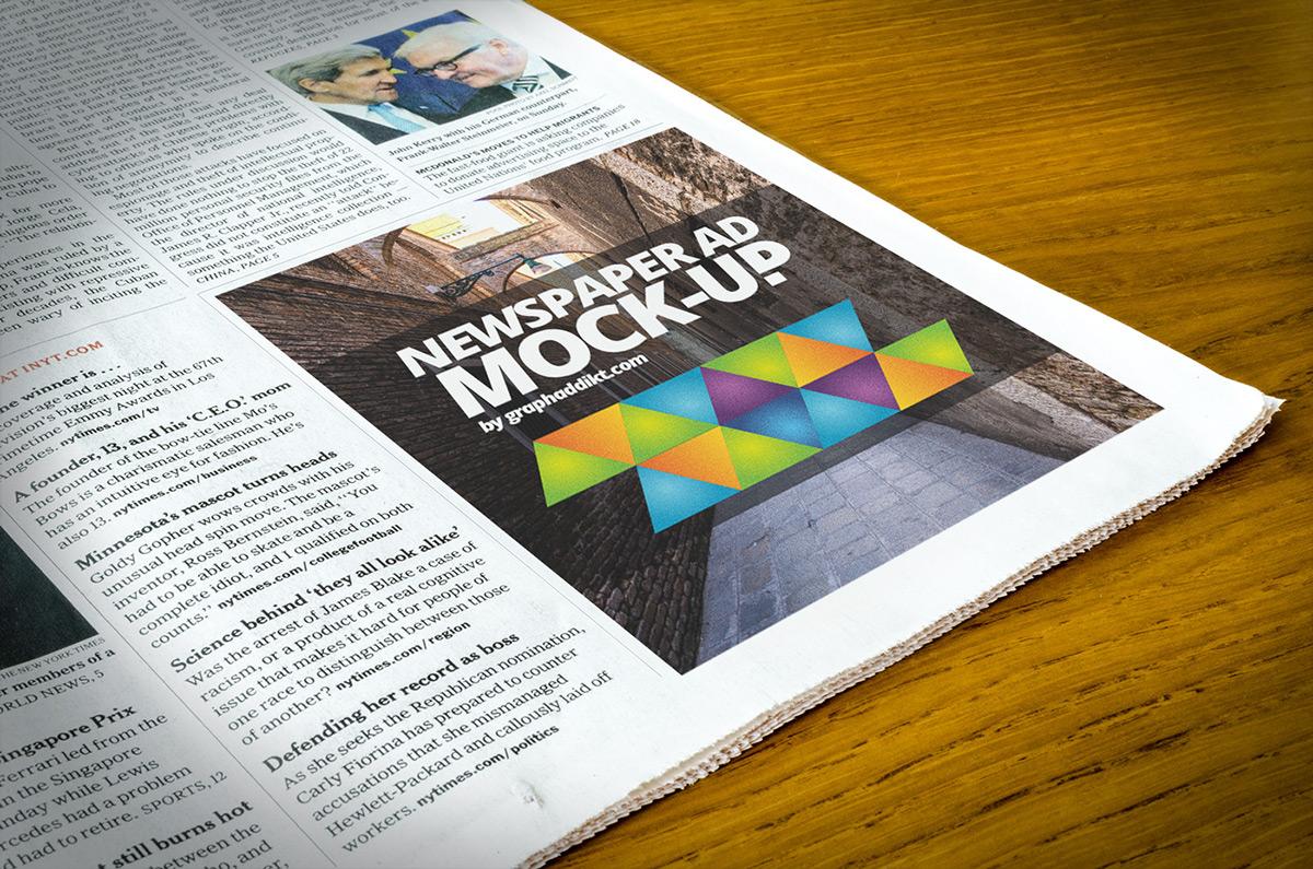 Mockup free freebie psd photoshop smart layer 300 dpi advert ad newspaper mock up