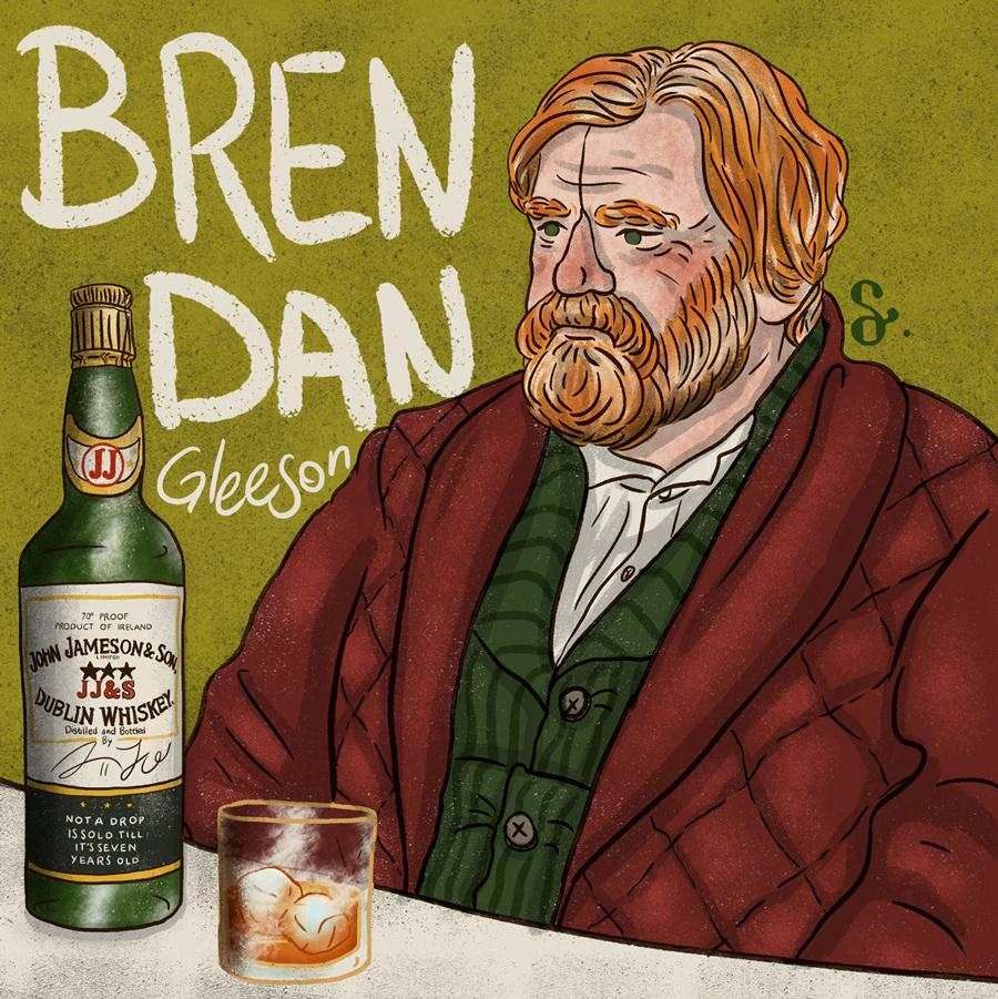 Brendan Gleeson Beck cole sprouse mafia sicily jameson Whiskey irish Ireland illustrasyon