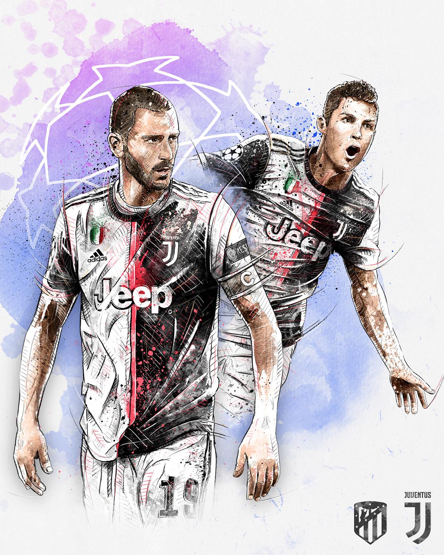 Dynamic sport/football illustration for Juventus vs. Atletico Madrid: Bonucci, Ronaldo.