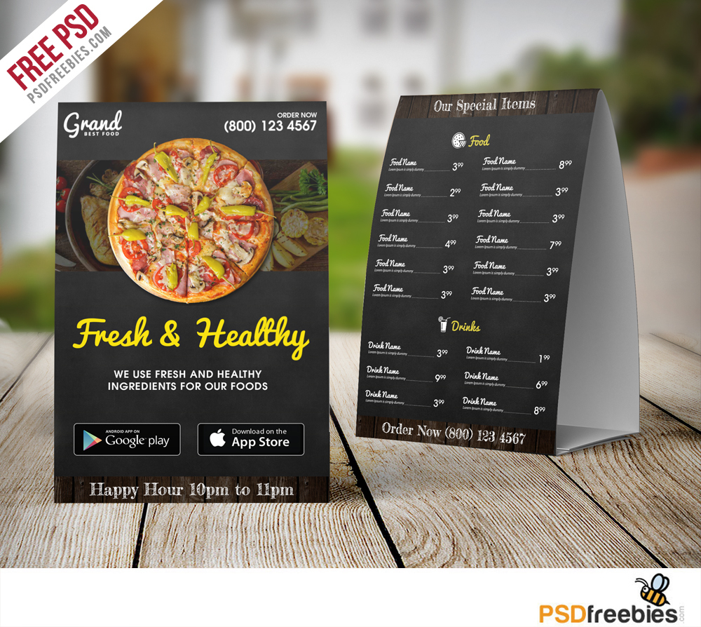 restaurant food menu table tent template free psd on behance