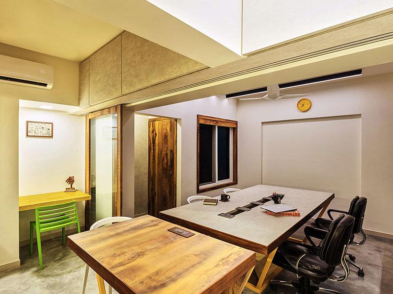 interior design ,Office,Architect's Office,concrete rustic,minimalistic,grey,wooden,yellow