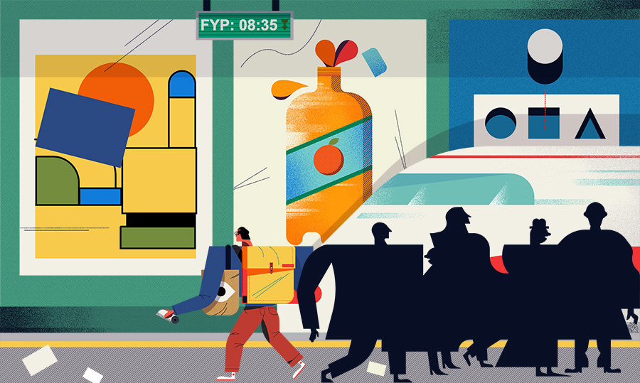 adam avery illustration the guardian university guide man looking at tube posters waiting for train