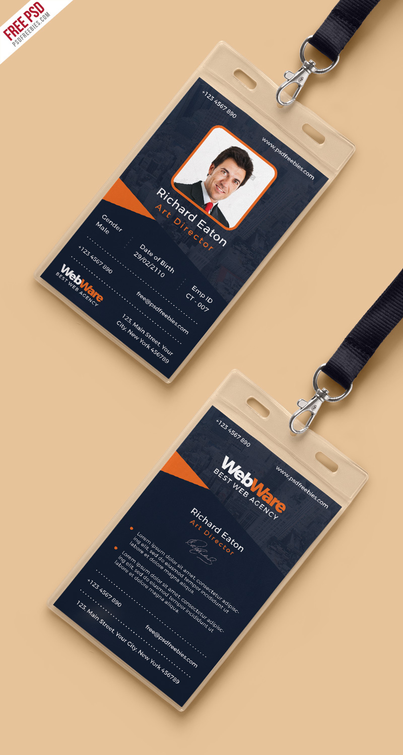 Free PSD : Vertical Company Identity Card Template PSD on Behance
