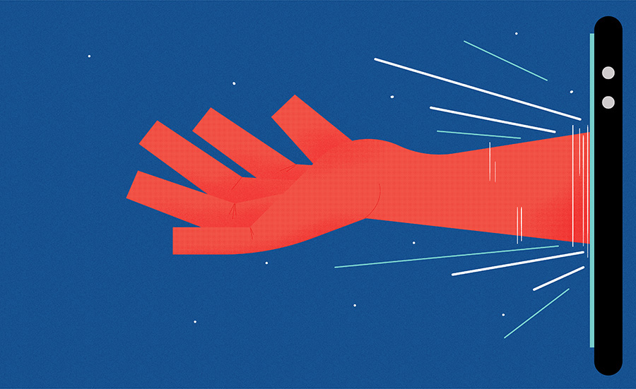 adam avery illustration the suffolk punch press hand reaching out of smart phone