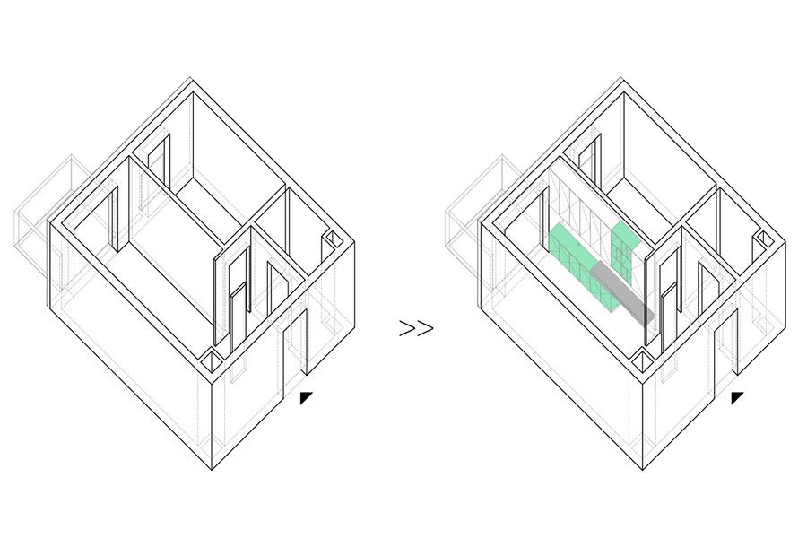 Interior apartment design furniture compact modern