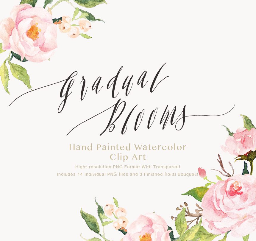 Watercolor Flower Clip Art Gradual Blooms On Behance