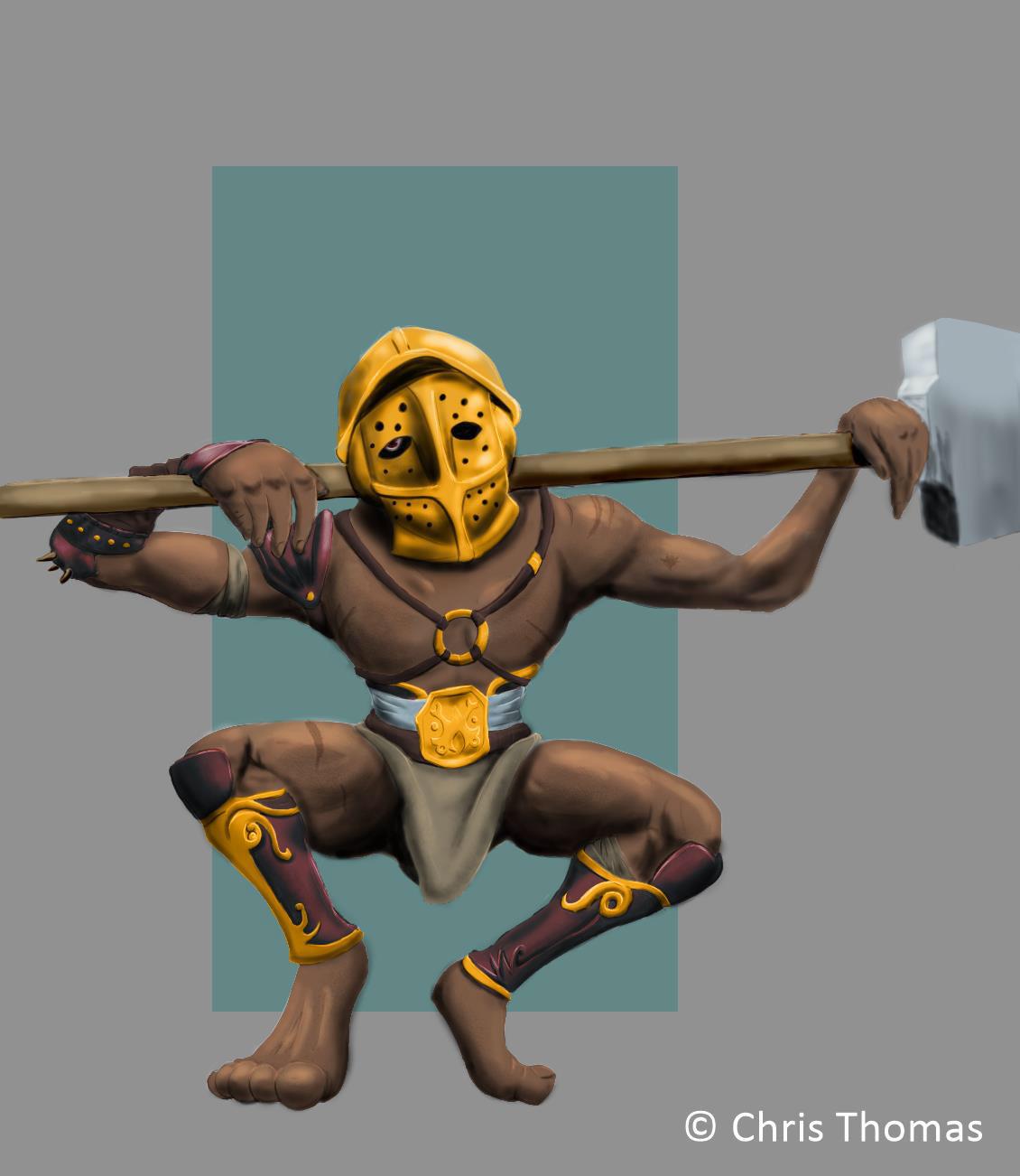 Gladiator Merman samurai wacom Character design  digital illustration