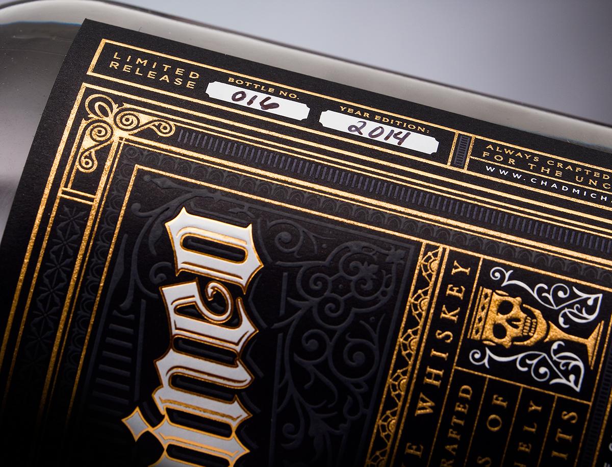 type gold foil letterpress label design liquor design spirit Whiskey chad michael alcohol logo bottle monogram Promotional personal